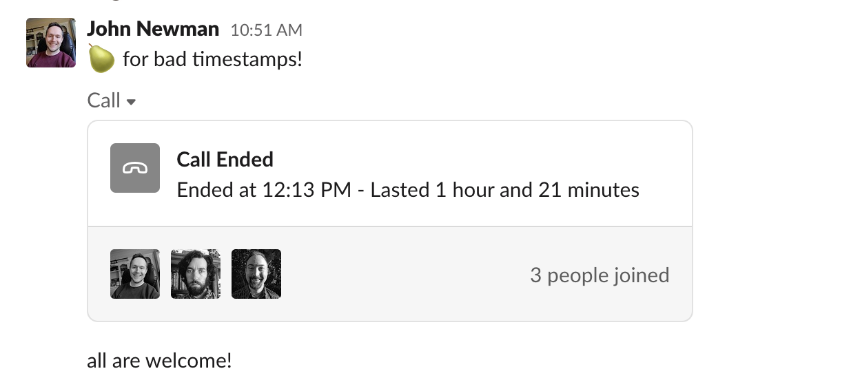 Screenshot of a pairing call in Slack